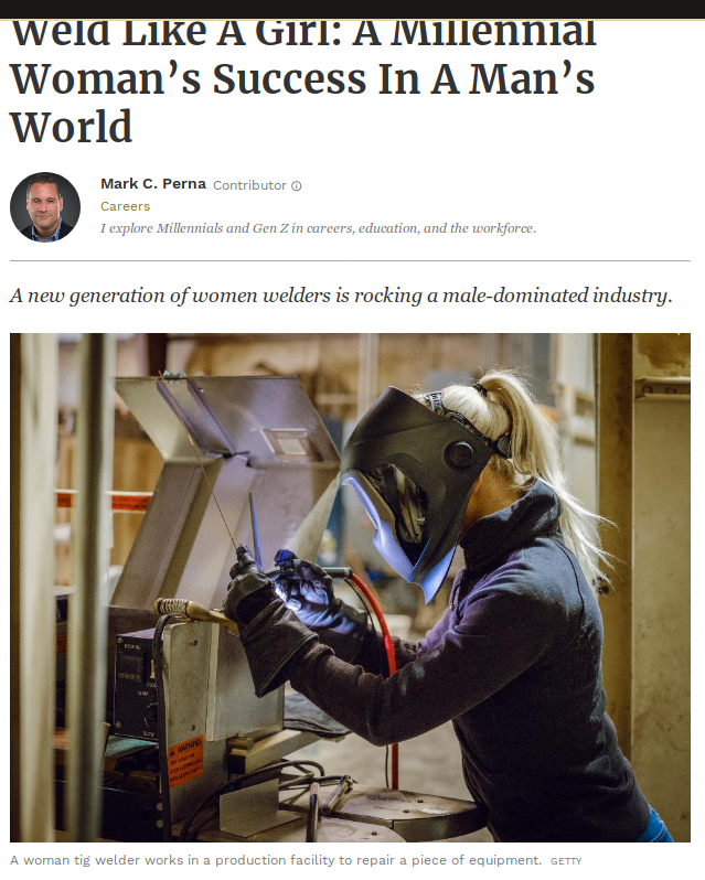 Weld like a girl: a milleniall woman's success in a man's world