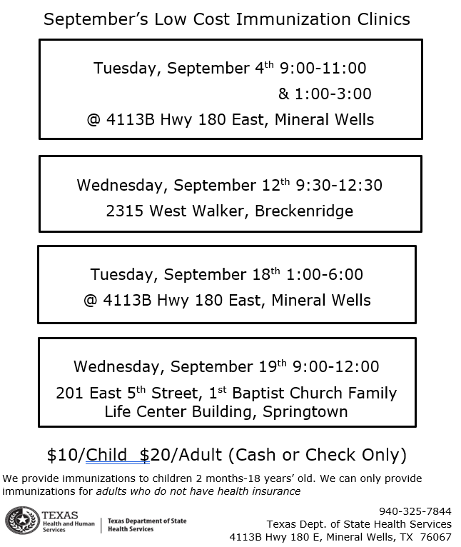 A schedule of the immunization clinic, with times, dates and locations.