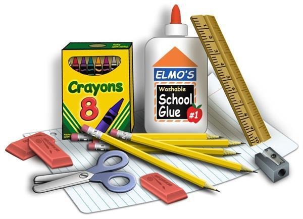 pictures of school supplies like glue, crayons, pencils.