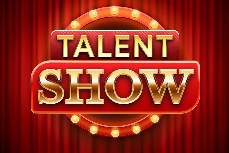 talent show sign with lights and a curtain