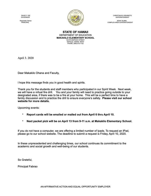 * * * * SPECIAL LETTER FROM PRINCIPAL FABRAO * * * * Featured Photo