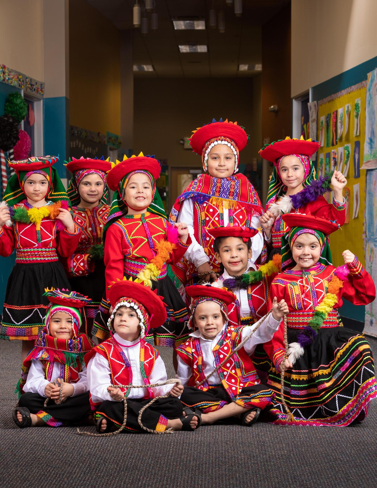 kids in traditional peruvian outfits
