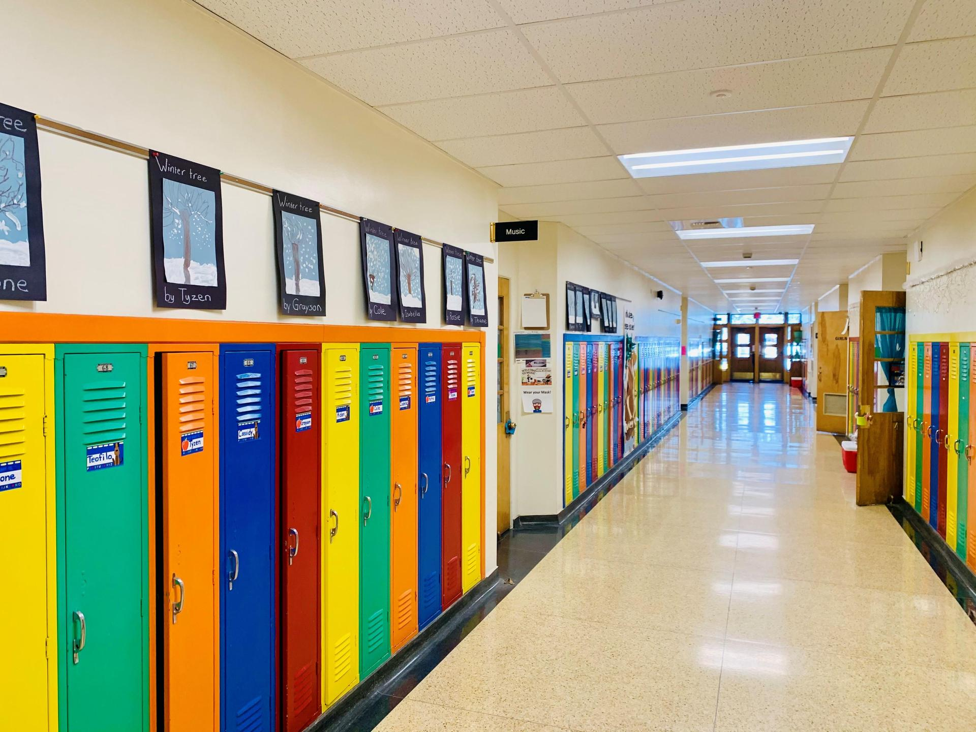 Colorful lockers and school hallway