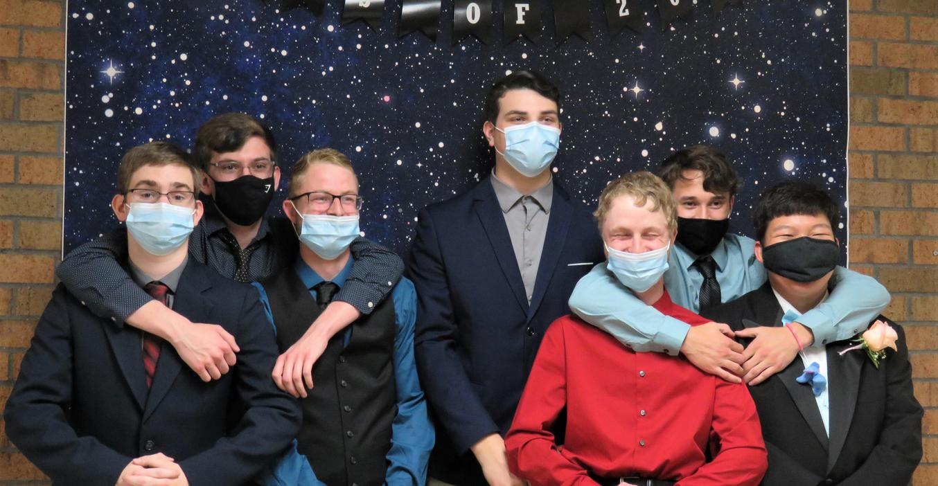 A group of students pose for a photo at the 2021 unconventional prom.