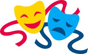 yellow and blue drama masks