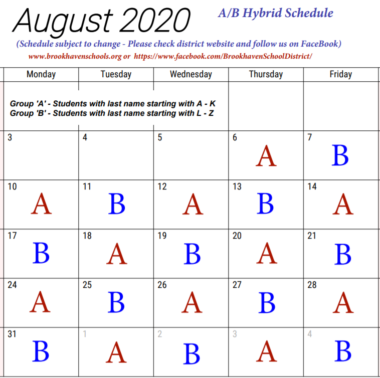August Hybrid Schedule (Group A and Group)