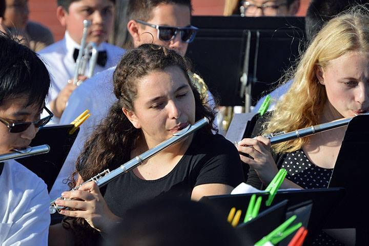 Band members playing at graduation