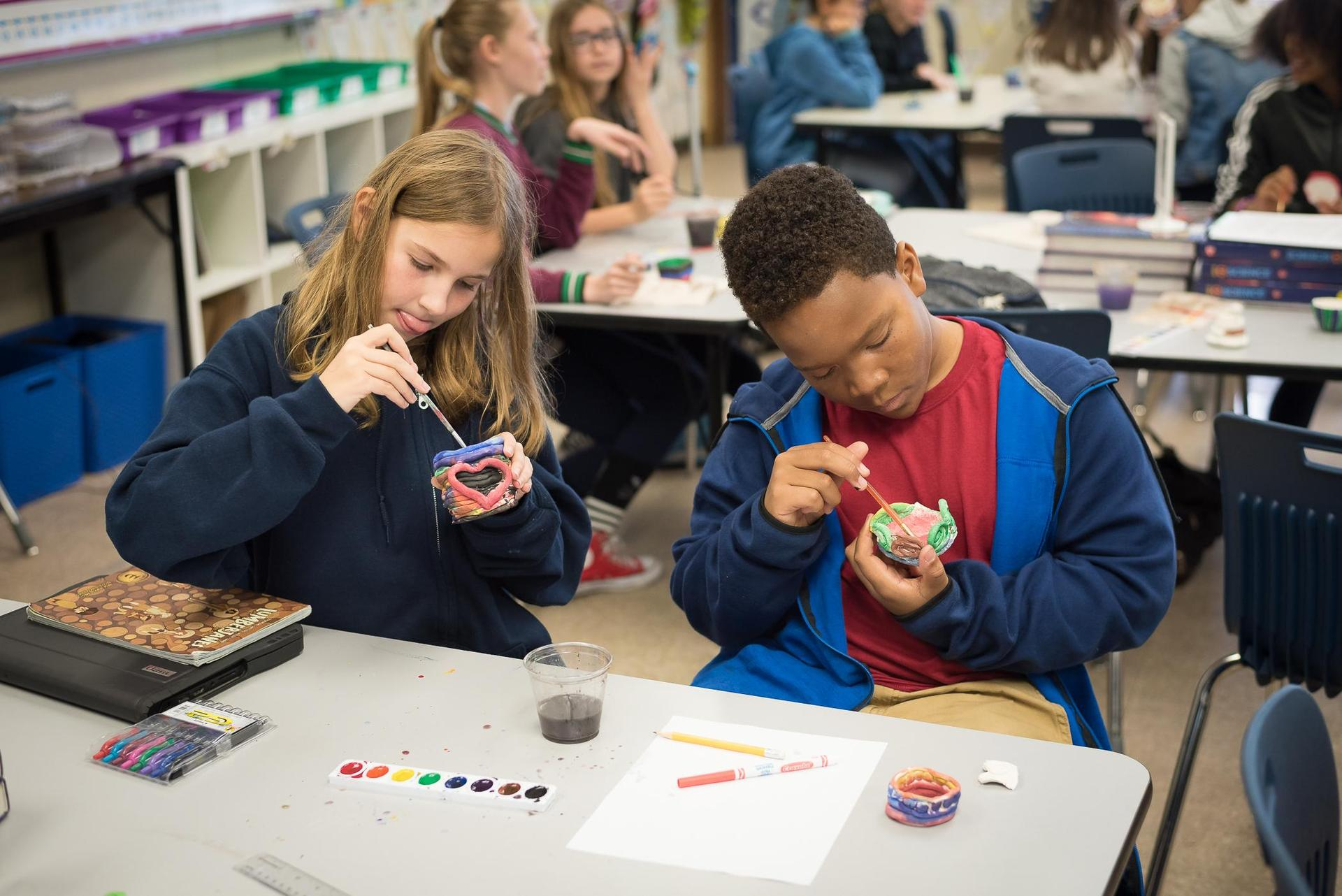 Students in art class