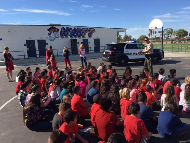 Students engaged listening to Officer Dunlap