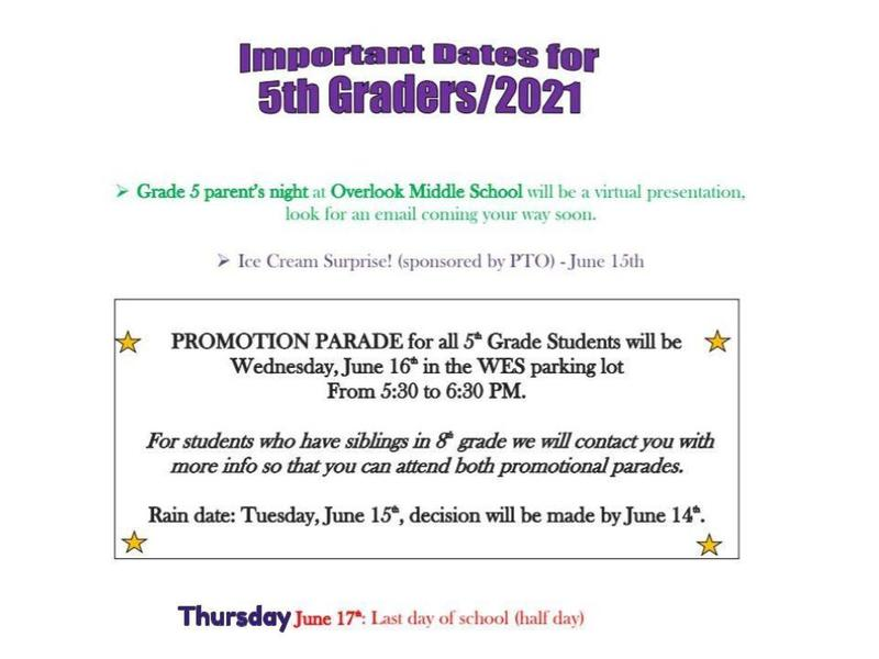 5th Grade Important End of the Year Dates Featured Photo