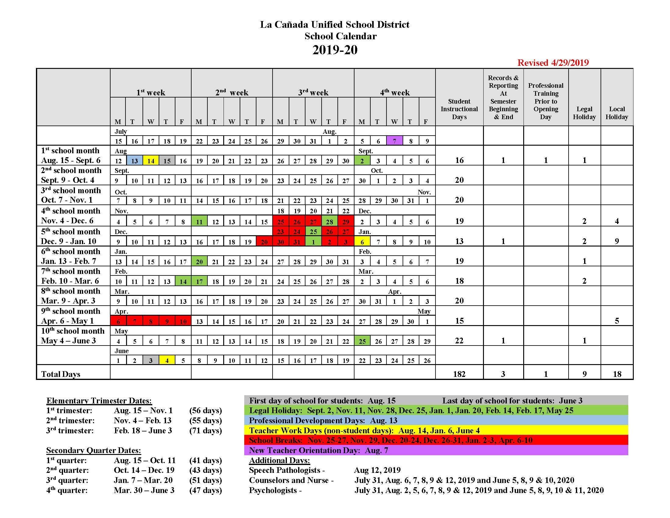 Calendar Sept 2020.Instructional Days Calendars Yearly Calendars La Canada Unified