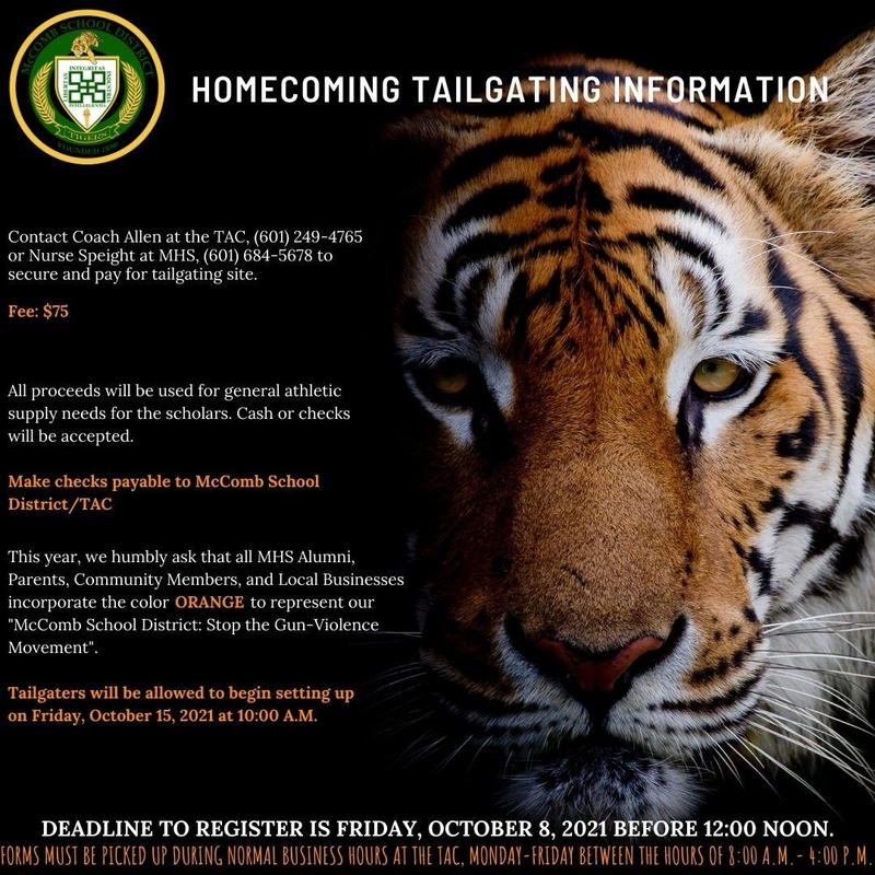 McComb High School Homecoming Tailgating And Parade Sign Up Information 2021