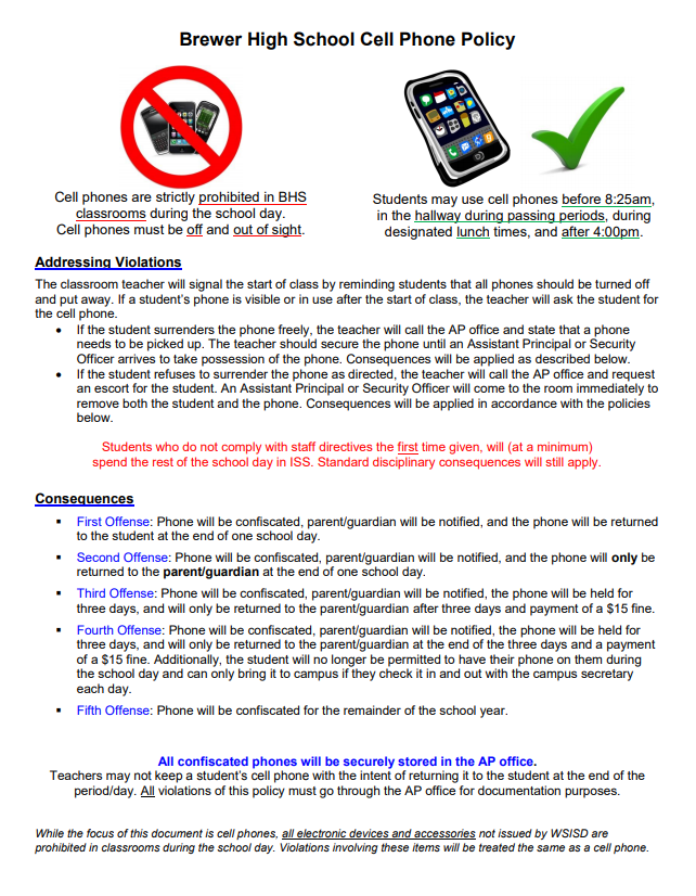 Cell Phones Policy