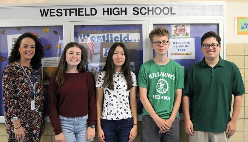 Pictured here in September with principal Mary Asfendis are (from left) Julia Tompkins, Connie Liu, Aidan Kilbourn, and Ian Gurland.