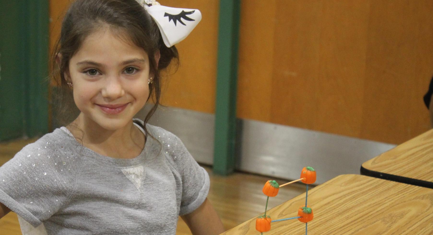 Making a pumpkin tower.