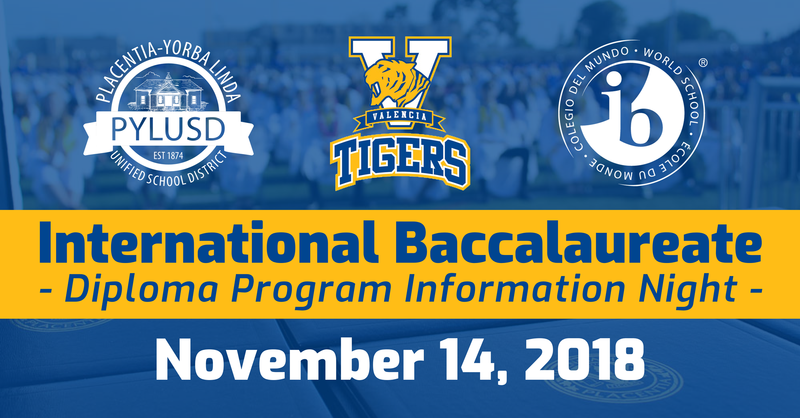 International Baccalaureate Night Information graphic for PYLUSD and VHS 2018.