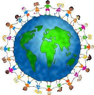 Kids surrounding the world