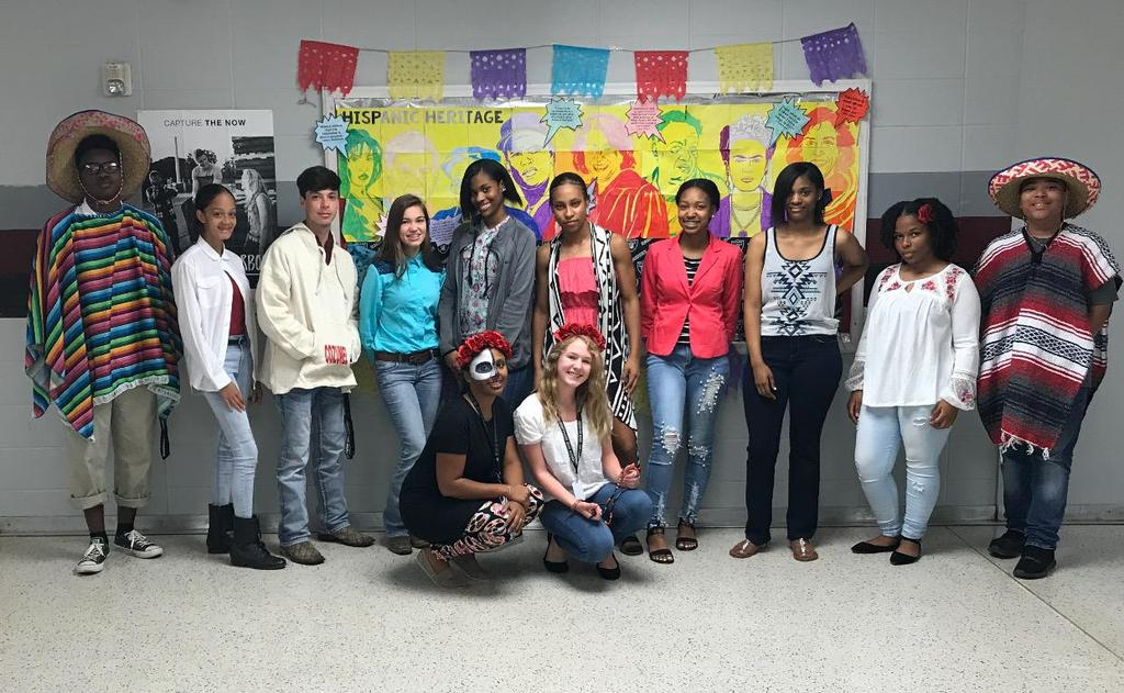 AP USH students and Student Government acknowledges Hispanic Heritage Month at NHS by creating a mural display and dressing in Hispanic attire