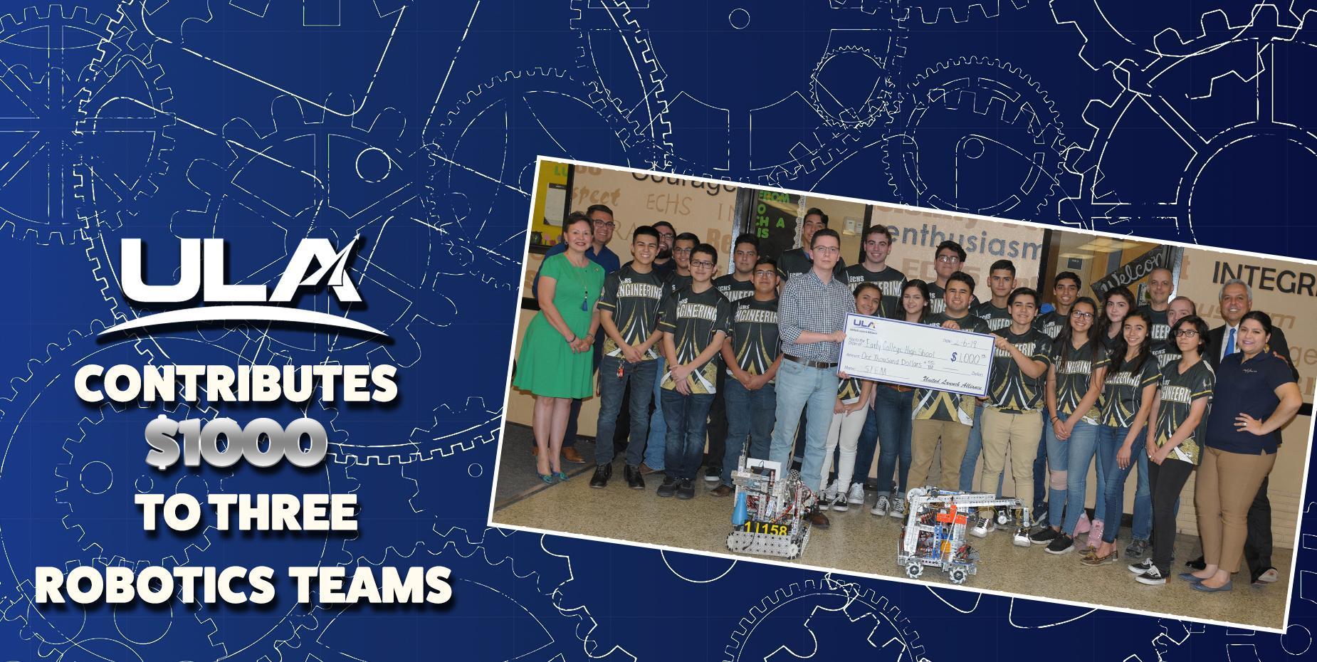 ULA Contributes 1K to 3 Robotics Teams