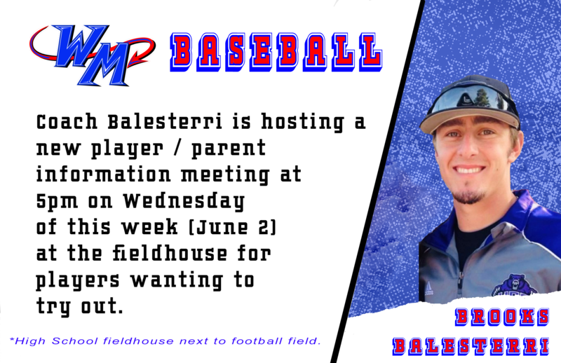 Coach Balesterri is hosting a  new player / parent  information meeting at 5pm on Wednesday of this week (June 2)  at the fieldhouse for  players wanting to  try out.