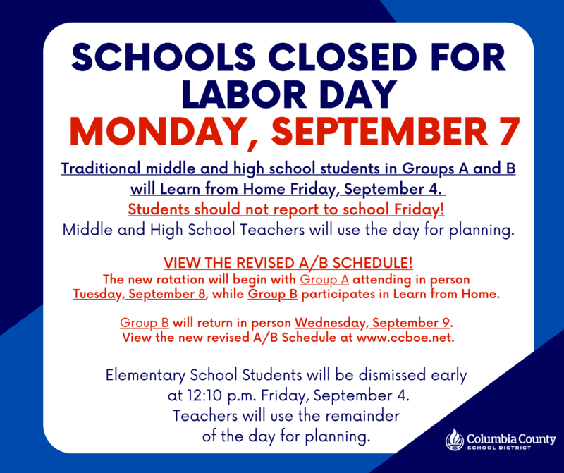 Friday, Sept. 4th Learn from Home Day for all LMS students, Monday Sept. 7th Labor Day Holiday