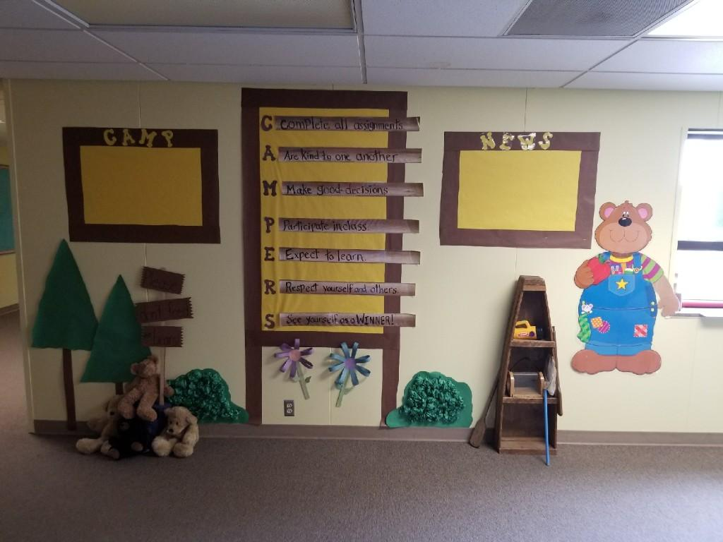 Elementary hallway campsite decoration