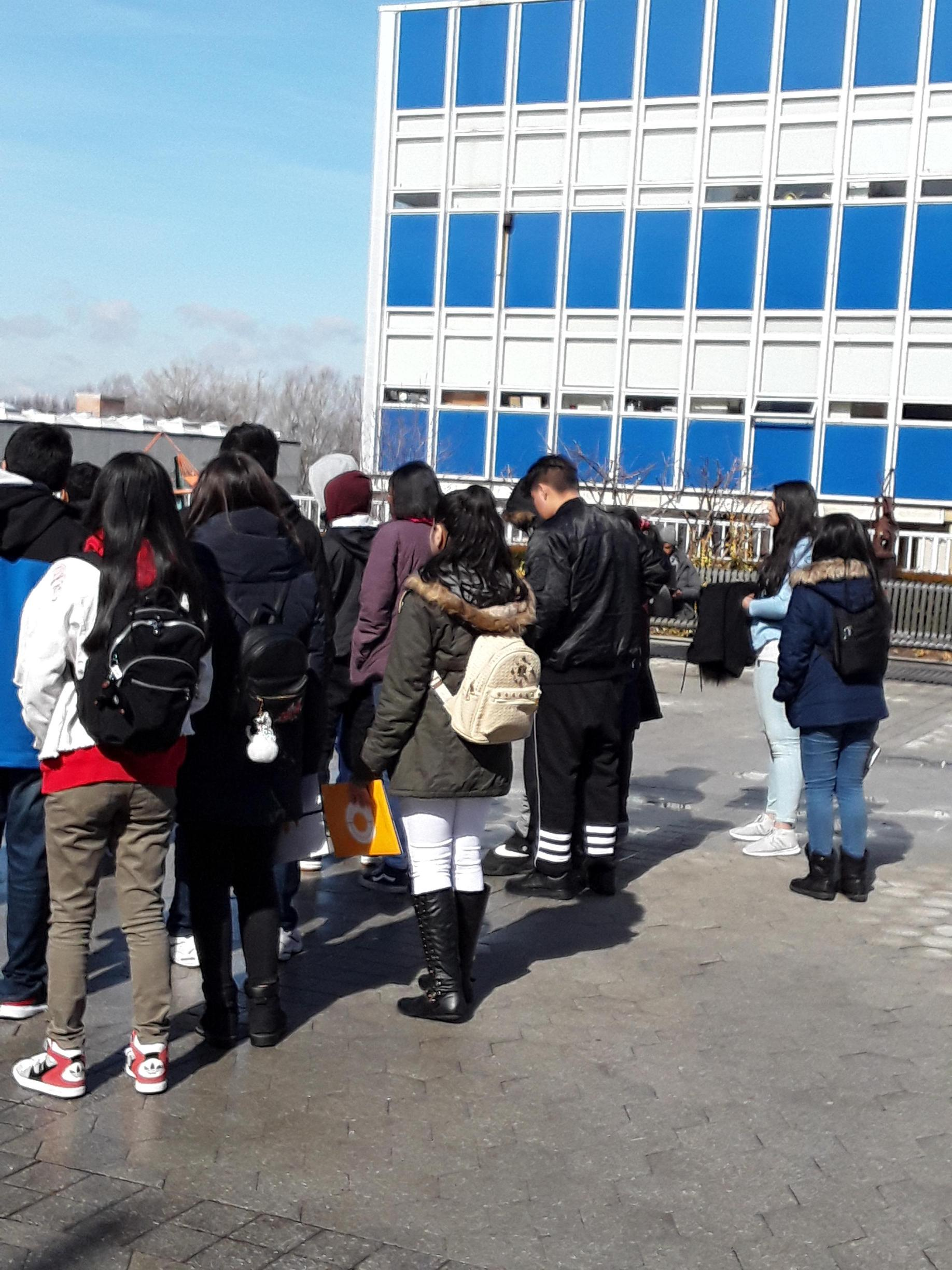 Students participating in a college tour.