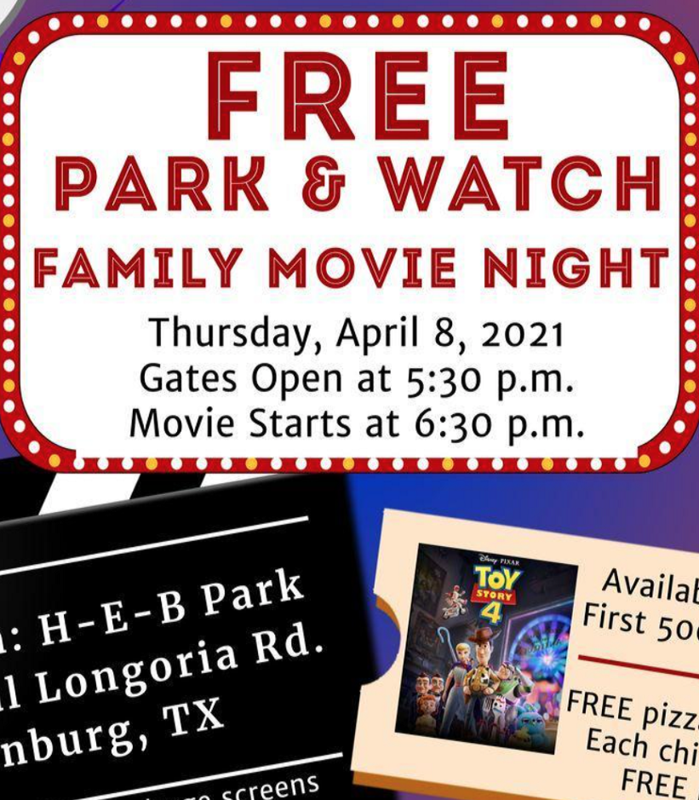 Free park and watch movie night 4/8/21.  Gates open at 5:30.  Movie starts at 6:30pm.  Click for more information