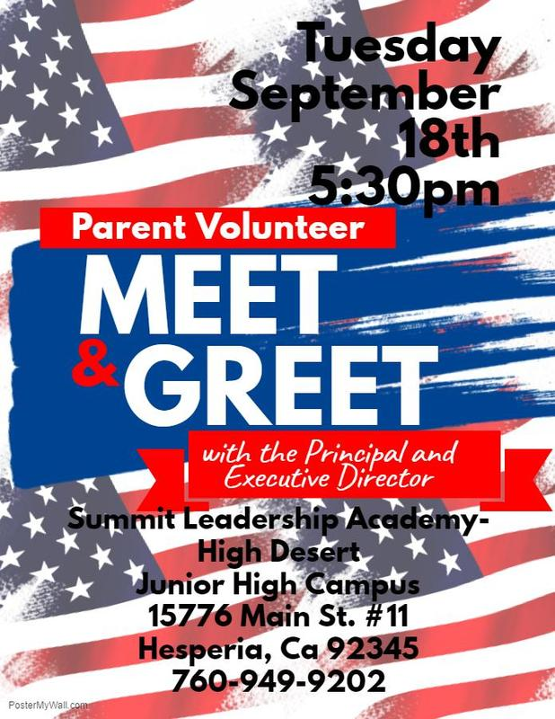PARENT VOLUNTEER'S! Come meet the Principal and Executive Director this Tuesday  9/18/18 at 5:30 PM Thumbnail Image
