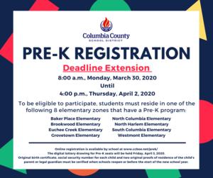 prek registration deadline extended info