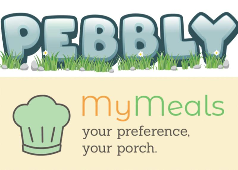 Pebbly and MyMeals logos