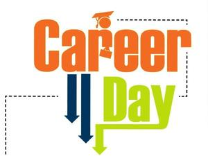 The words career day in orange and green.