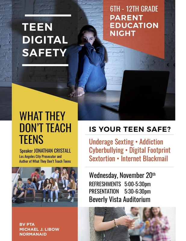 TEEN DIGITAL SAFETY Parent Education Night on Nov. 20 at BVMS Featured Photo