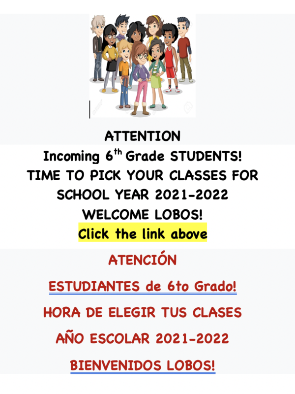 NEW 6th Grade Students Class Enrollment 2021-2022     CLICK HERE FOR ACCESS Featured Photo