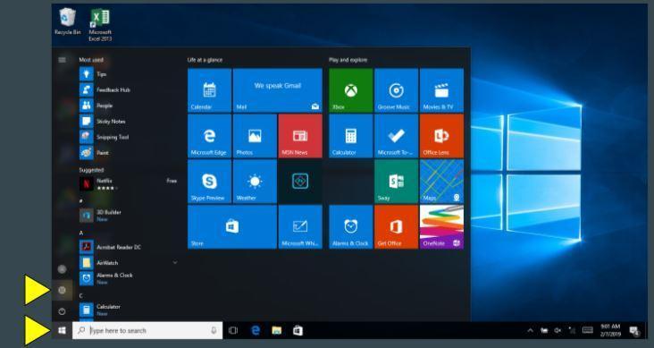 Start menu windows device