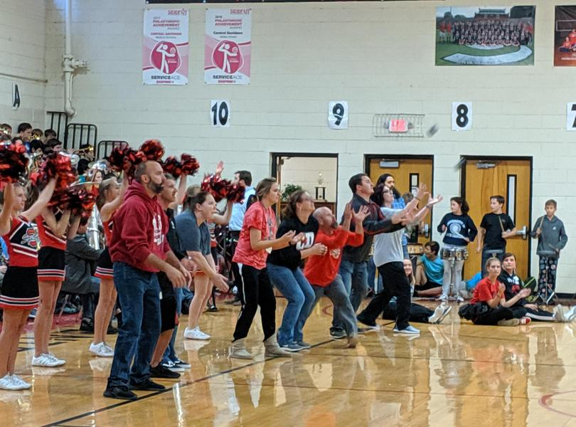 Teachers participating in Pep Rally
