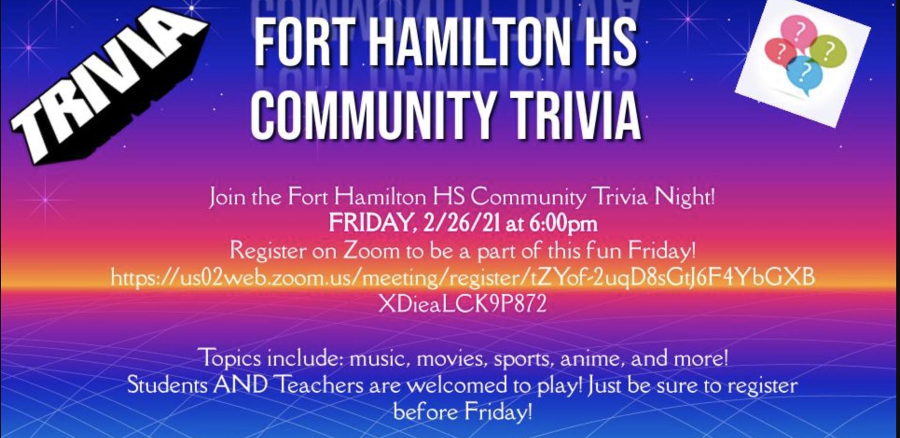 Fort Hamilton High school Trivia  Night
