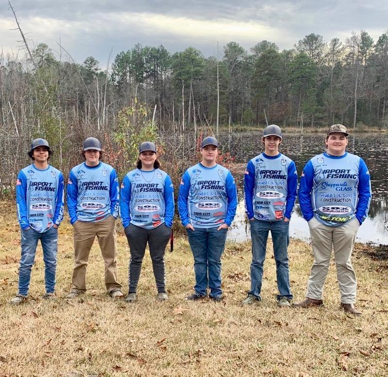 Airport High fIshing team members, from left, Jacob White, Tanner Schultz, Lane Heath, Andrew Dail, Briar Gates and Jack Sox.