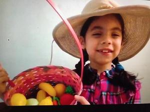 girl wearing farmer outfit with fruit basket