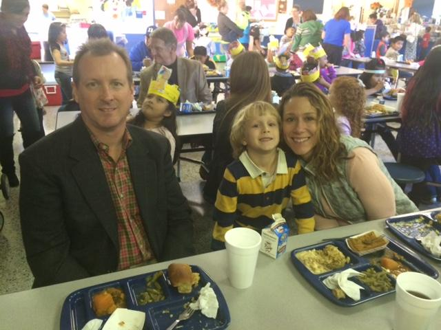 Eastfield family's eating lunch