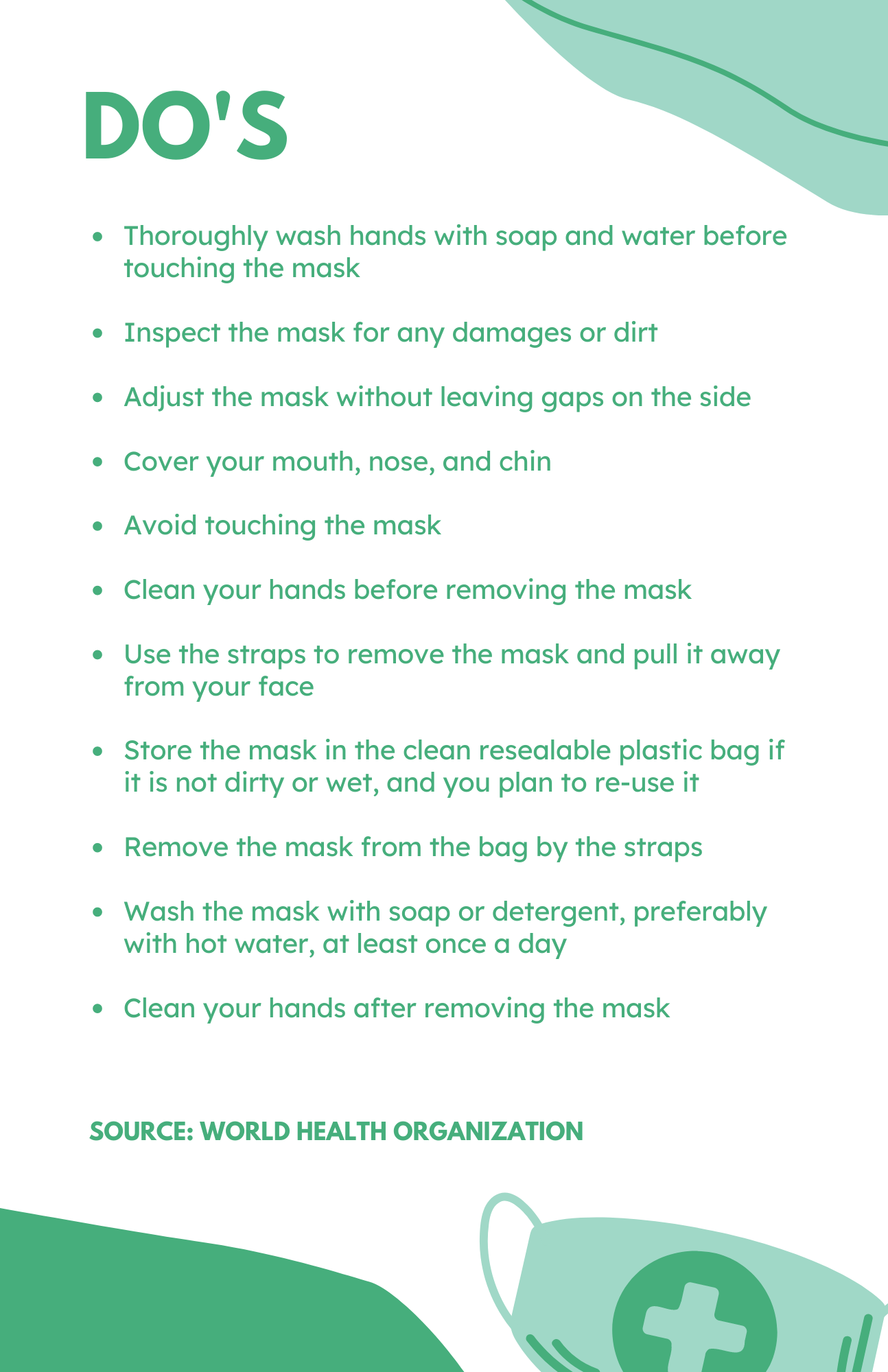 Do's for wearing a mask.