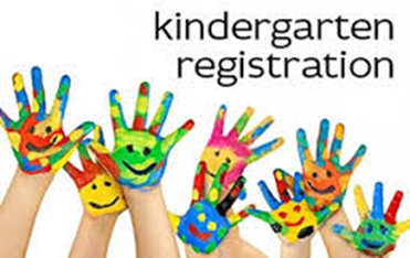 Kindergarten registration sign with children's hands painted in primary colors with eyes and nose in black.