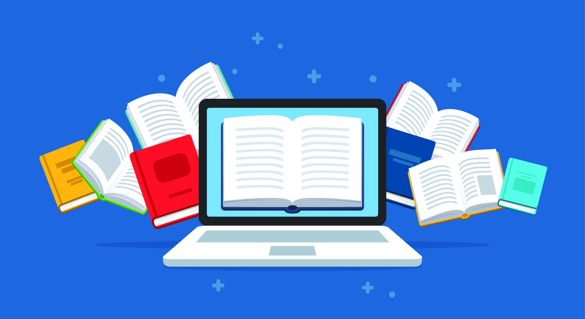 Clip art, computer screen surrounded by open books