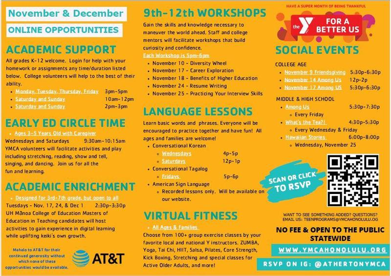 YMCA flyer listing various free learning opportunities for November and December. Read more for details.