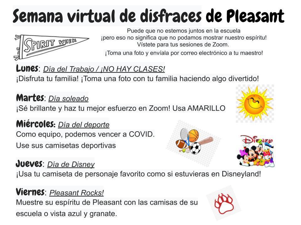 Semana virtual de disfraces de Pleasant