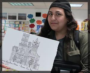 Photograph of Troa with his winning drawing
