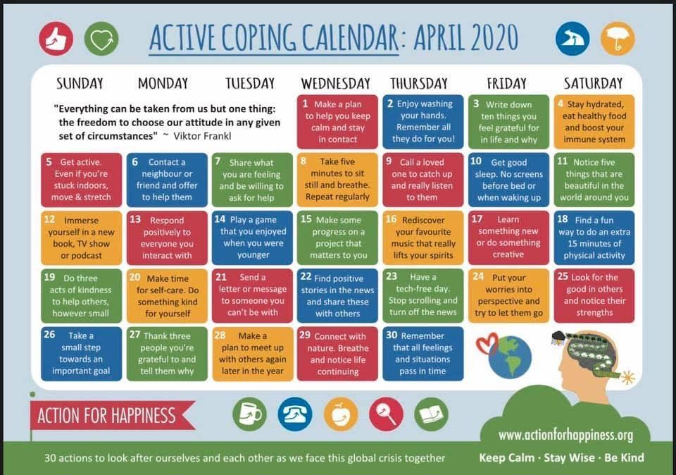Coping Calendar for April At Home
