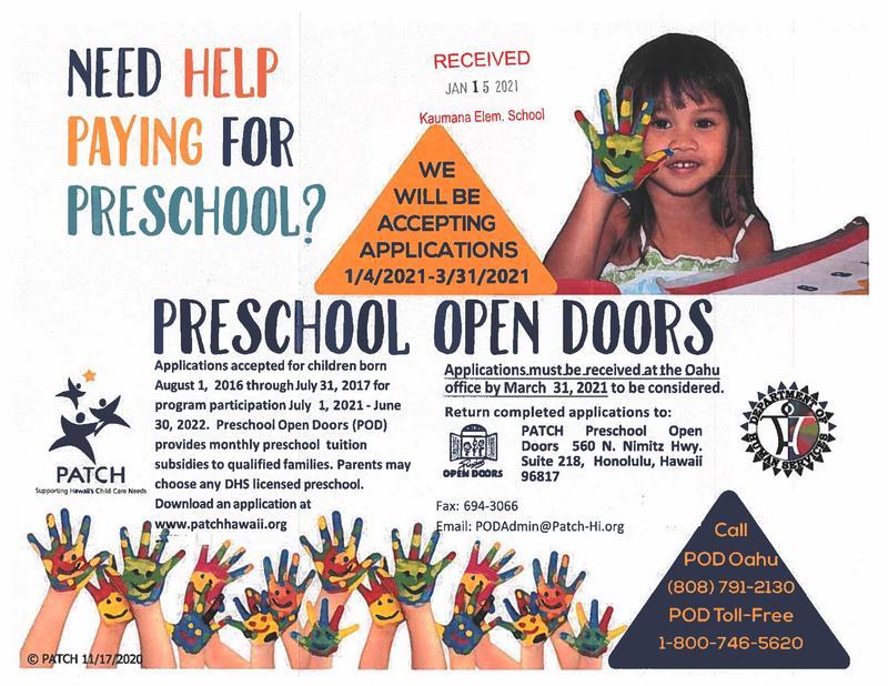 PATCH Preschool Open Doors Flyer