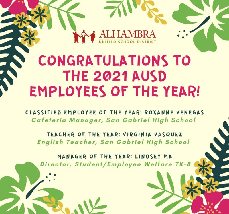 2021 AUSD Employee of the Year Info