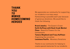 Thank you to our Homecoming donors.